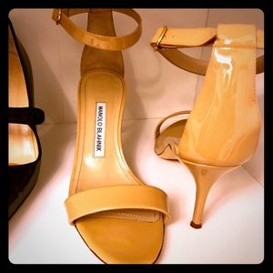 Authentic Manolo Blahnik nude strappy heels.